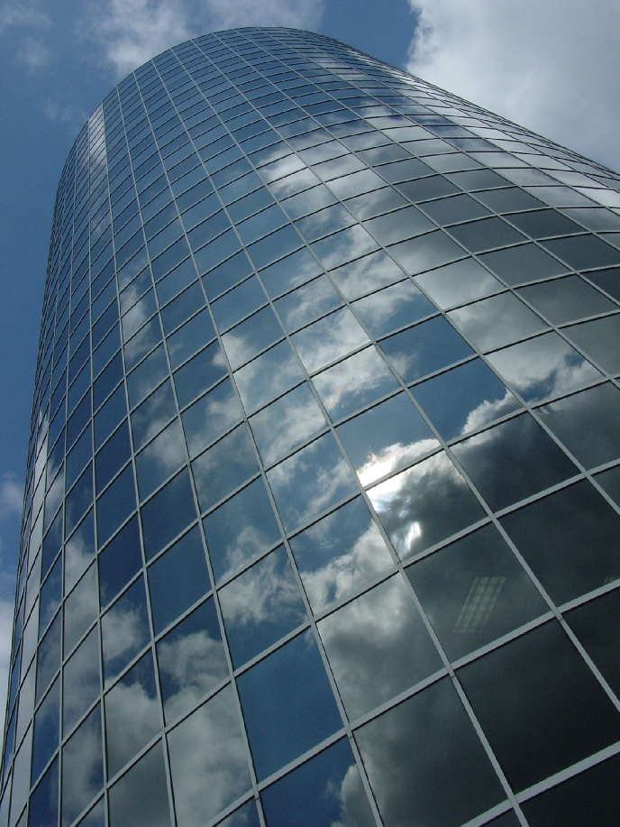 atlanta, mirrored, building, glass, reflection, sky, clouds, curve, architecture, atlanta, georgia, GA